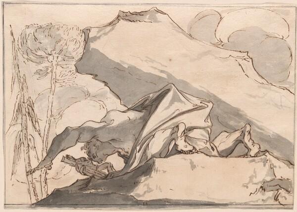 A Desert Hermit Adoring the Crucifix