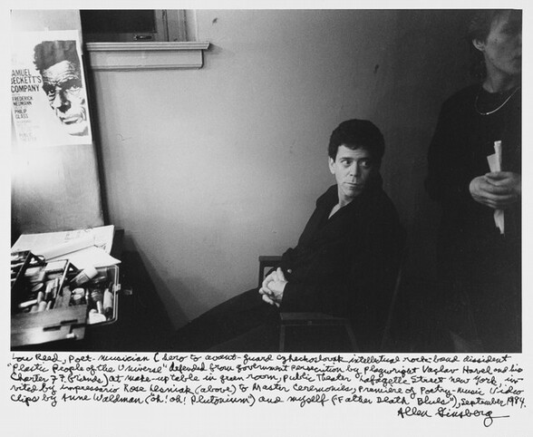 Lou Reed, poet-musician (hero to avant-guard Czechoslovak intellectual rock-band dissident Plastic People of the Universe defended from government persecution by playwright Vaclav Havel and his Charter 77 friends) at make-up table in green room, public Theater Lafayette Street New York, invited by impresario Rose Lesniak (above) to Master Ceremonies, Premiere of Poetry- Music Video Clips by Anne Waldman (uh! oh! plutonium) and myself (Father Death Blues), September 1984.