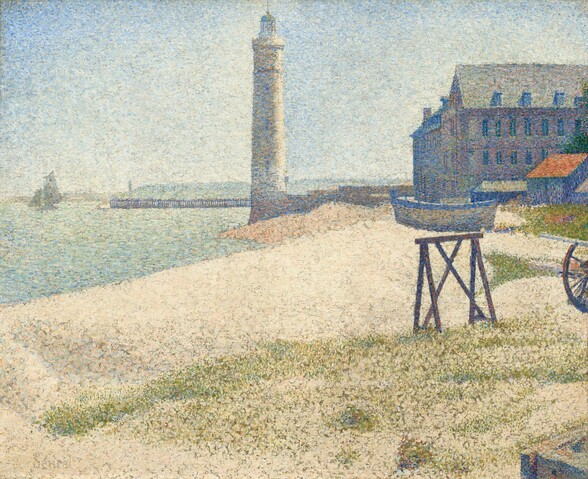 Painted entirely with small dots of pure color mostly in slate and azure blue, olive green, and cream white, this scene shows a sandy beach stretching to a lighthouse at the center and a four-story building to our right in this horizontal seascape. The tall, slender lighthouse standing on the water's edge a short distance from us is painted with specks of azure and sky blue, ivory, and peach. The rod rising from the top extends off the top of the canvas. In the distance to our left, a pier stretches into the sea along the horizon, which comes about two-thirds of the way up this composition. A sailboat floats just off the pier, near the left edge of the painting. To our right of the lighthouse and extending off the right edge of the canvas, the building has three levels of windows and a row of dormers extending from the tall, peaked roof. The building is painted with touches of dove gray, sapphire blue, and pale pink. In front of the building and to our right, a denim blue shed has a tangerine orange roof. A wooden rowboat outlined in cornflower blue with flecks of dandelion yellow rests on the sand next to the shed. In front of us, dots of moss green blend into the blonde tones of the sand, creating an impression of grass on the beach. Sunlight shimmers on the sea to our left, which is painted with short dashes of mint and seafoam green, baby blue, cream, and shell pink, beneath a clear, ice-blue sky.