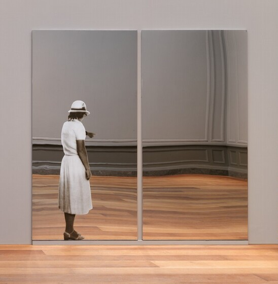 Michelangelo Pistoletto, Donna che indica (Woman who points), conceived 1962, fabricated 1982conceived 1962, fabricated 1982