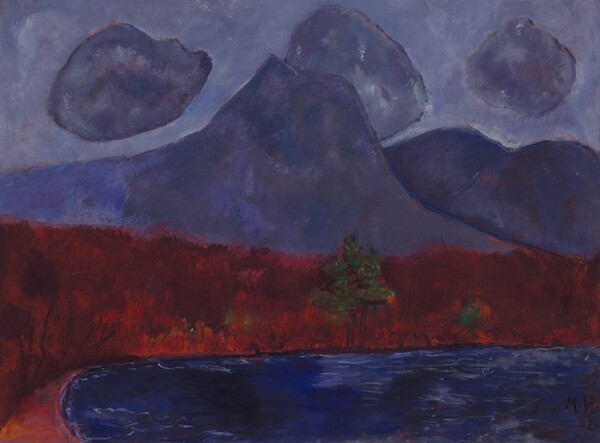 """Amethyst-purple mountains and clouds against a slightly lighter, lavender-purple sky loom over a strip of land painted as a band of brick red over a field of royal blue, suggesting a body of water, in this abstracted, horizontal landscape painting. One tall peak with a flattened top rises in front of a few more lower, rounded peaks to our right. Round clouds, like cotton balls, in the same amethyst-purple of the mountains, float against the lighter purple sky. The sky, clouds, and mountains are painted with areas of mottled purple over a red underlayer, all outlined in lapis blue. The horizon line created by the strip of deep red land comes about halfway up the composition. A pair of green trees with triangular canopies, like pine trees on tall brown trunks, sits at the water's edge near the center of the red band. A few touches of forest-green nearby suggest more trees or bushes. The red band is streaked vertically with visible brushstrokes in flame, ruby, and burgundy red. Along the bottom edge of the painting, the land curves toward us near the lower left corner, creating an elongated blue oval that reaches off the bottom and right edges. This area is painted with horizontal streaks of cobalt and navy blue with a few thin, white lines to suggest ripples. The artist signed and dated the painting in the lower right corner: """"M.H. 42."""""""