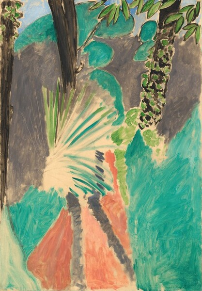 """Fields of elephant gray, coral orange, and turquoise surround a fan-like, abstracted palm frond near the center of this vertical, abstract painting. The fronds of the palm radiate like a starburst against unpainted, cream-white canvas. Three black, vertical bands spaced behind the palm suggest tree trunks, with the rightmost trunk dotted with spring-green, perhaps representing moss or the leaves of a vine. The fields of gray to either side of the frond, the turquoise areas below the gray, and the coral at the bottom center are painted with visible brushstrokes, creating a mottled effect. Rounded turquoise forms above the gray are silhouetted against a field of pale blue, perhaps representing the sky along the top edge. A few pointed, oval leaves painted spring-green with black outlines dip into the scene from the top of the composition. The artist signed the work in dark green paint in the lower right: """"Henri-Matisse."""""""