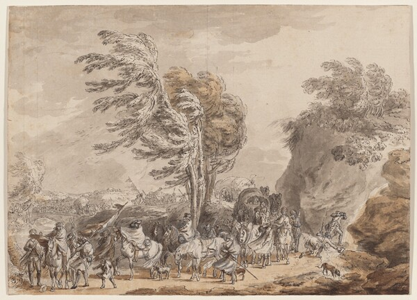 Soldiers in a Windy Landscape