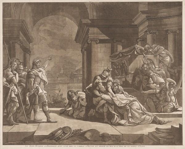 Le Jeune Astianax qu'Andromaque avoit caché dans le tombeau d'Hector est arraché des bras de sa Mere par les ordres d