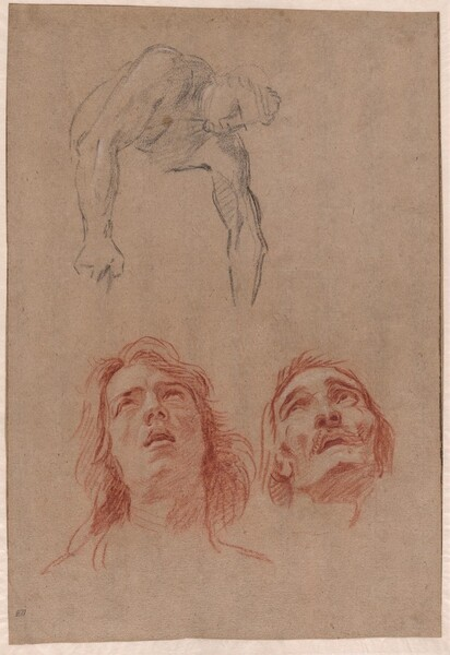 Man Reaching Down and Two Studies of Heads (recto)