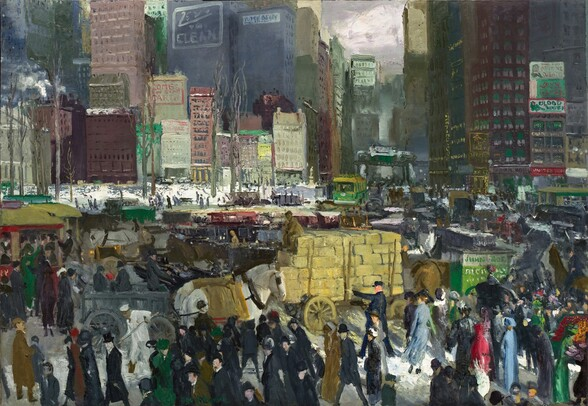 """We look slightly down onto a crush of pedestrians, horse-drawn carriages, wagons, and streetcars enclosed by a row of densely spaced buildings and skyscrapers opposite us in this horizontal painting. The street in front of us is alive with action but the overall color palette is subdued with burgundy, grays, and black punctuated by bright spots of harvest yellow, shamrock green, apple-red, and white. Most of the people wear long dark coats and black hats but a few draw the eye. For instance, in a patch of sunlight in the lower right corner, three women wearing a light blue, scarlet, or emerald green dress stand out from the crowd. The sunlight also highlights a white spot on the ground, probably snow, amid the crowd to our right. Beyond the band of people in the street close to us, more people fill in the space around carriages, wagons, and trolleys, and a large horse-drawn cart piled with large yellow blocks, perhaps hay, at the center of the composition. A little in the distance to our left, a few bare trees stand around a patch of white ground, perhaps a snowy park or ice rink. Beyond that, in the top half of the painting, city buildings are blocked in with rectangles of muted red, gray, and tan. Shorter buildings, about six to ten stories high, cluster in front of taller buildings that reach off the top edge of the painting. The band of skyscrapers is broken only by a small, gray patch of sky visible in a gap between the buildings to our right of center, along the top of the canvas. White smoke rises from a few chimneys and billboards and advertisements are painted onto the fronts of some of the buildings. The paint is loosely applied, so many of the people and objects are created with only a few swipes of the brush, which makes many of the details indistinct. The artist signed the work with pine green paint near the lower left corner: """"Geo Bellows."""""""