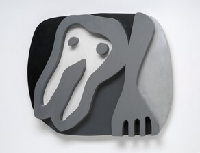 An almost cartoonish tooth-like form and a fork float against a roughly oval field in this abstracted wooden sculpture. Presumably the shirt front of the title, the tooth-like form takes up the left half of the composition. It has a rounded top with two pointed root-like legs below, and has two dots like eyes near the top. The fork to our right points downwards and the four tines are cut off by the bottom edge of the composition. The shirt front, dots, and fork are carved and painted nickel gray so they look like thick outlines in low relief. The background to our left and over the shirt front is black. The area between the shirt front and fork is dark gray, and the field to our right of the fork is silvery gray.