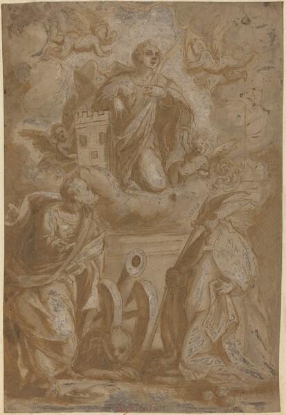 Saint Barbara in Glory with Saints Nicholas and Jerome