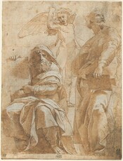 """Drawn with brown ink and shaded with tan washes, two robust, bearded men wearing robes, with a smaller, nude, winged boy between them, fill this vertical, cream-colored page. At the center top of the paper, the boy angel faces us, gazing down toward our left with open mouth and eyebrows drawn together. He has curly hair and lifts his muscular right arm, on our left, with his index finger pointed upward. Crosshatched lines sculpt his sturdy body, and quick, curved lines shade his outstretched wings. To our right, one man stands with his body facing the center of the sheet but he turns his head to look up in the opposite direction. He has curling hair, a wide mustache, and perhaps a goatee, though his chin is partially hidden by a dark spot on the paper. He has broad shoulders, a thick neck, large hands, and a hint of a muscular leg under his flowing, voluminous robes. He holds a flat, oblong object, possibly a stone tablet, perched on his slightly bent left knee. Seated to our left, the other man faces and looks at or toward us. He also grasps a flat, tablet-like object but holds it up like a sign, on his right side, to our left, and points to it with his other hand. This man also is solidly built and swathed in robes, with a hood over his curly hair. He leans forward, knees apart, and stares out with his brows deeply furrowed. His downturned mouth is set in a bushy, curly beard. Near the bottom of the picture, the bare feet of the two men emerge from the folds of their robes. Touches of white washes on the folds of the robes create a sense of light coming from above and to our right, and charcoal lines reinforce the shadows. A grid is lightly drawn in red chalk lines over the composition. A black stamp in the lower left has the letters """"E.C"""" and another at the center reads, """"H de T. STAT."""""""