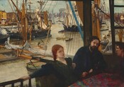 We seem to look down at a woman with pale skin and two men with ruddy complexions sitting at a table near a railing overlooking a boat-clogged waterway in this horizontal painting. Only the corner of the table is visible in the lower right corner. The woman sits next to one man on the side farther from us, and the third person leans onto the table from the right, along the edge of the composition. The table is covered with a dark ruby-red floral cloth. The red-haired woman wears a dark green dress and leans back, extending her right arm along the railing. Her back is to the river below and she gazes directly ahead, to our right. The dark-haired, bearded man sitting to her left, our right, speaks to the clean-shaven, dark-haired man wearing a cap who sits across from him. Sailboats, rowboats, a steamship, and vessels of every size occupy much of the waterway. Rows of buildings extend along the river to our left and right, and trees line the distant horizon at the center of the painting. The river is a tan color and the watery blue sky is hazy.