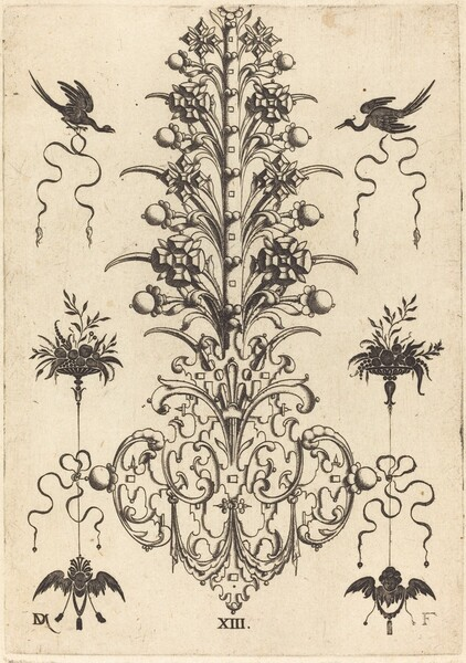 Hyacinth-Shaped Brooch with Birds at Top and Devil