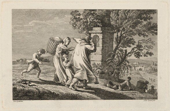 A Peasant Family Hurrying Past a Wayside Shrine in a Storm