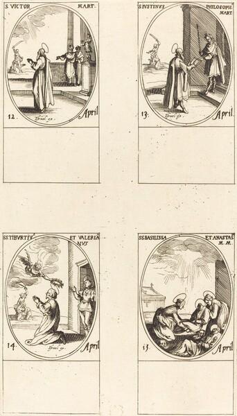 St. Victor; St. Justinus; Sts. Tiburtius and Valerianus; Sts. Basilissa and Anastasia