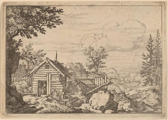 Two Men in the Doorway of a Hut