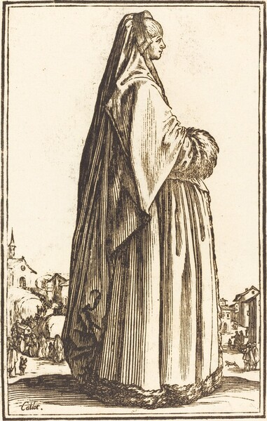 Noble Woman Wearing a Veil and a Dress Trimmed in Fur