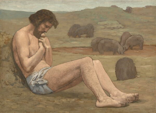 A nearly nude man with a pale, peach complexion, wearing only a light, blue-gray loincloth sits facing our right in profile, leaning back on a mound with his legs extended in front of him and hands gathered at his chest under a bowed head in this wide, horizontal painting. His body almost spans the width of the composition. He has a straight nose, a brown beard, and his hair falls past his ears. Diffused light creates a subtle shadow on his face and the backs of his bent knees. The landscape behind him is painted with sage-green and pale, cinnamon brown hills. The horizon almost reaches the top edge of the composition, and the narrow band of sky is very pale blue, nearly white. Several clay-brown hogs nuzzle in a mud puddle and stand in the meadow beyond the man. The overall tonality of the colors are muted with beige, cream, and soft green.