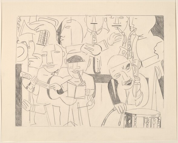 """Eleven tightly grouped people, most playing musical instruments, fill this abstracted, horizontal composition, which is drawn with graphite on cream-colored paper. The people's facial features, including almond-shaped eyes, wide noses, lips, and round faces, as well as their hands and blocky bodies, are drawn simply with single lines and no shading. In the lower right corner, the man holds two drumsticks over a snare drum as he looks to our right with his lips parted. There is an oval shaped patch of gray above his left eye, to our right, where his eye socket would be, and a single line straight across his forehead. To our left, one man stands playing a clarinet with an open book in front of him, and the musician next to him plays a guitar. Two triangles under the guitarist's chin suggest a collar or bowtie. In a second row, above and presumably behind this front row, three people play saxophones in the upper right and at least one more plays a horn in the upper left, facing our left in profile. Fragments of a few more faces and profiles are tucked among the group. A line around the scene creates the rectangle containing the musicians, and there is a wide margin of blank paper around the edge of the sheet. The artist signed the work in the upper left corner, within the margin, """"Rom are bear den."""""""