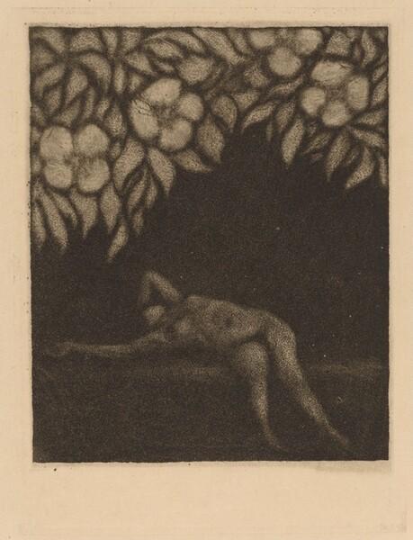 Nude Reclining beneath Flowers