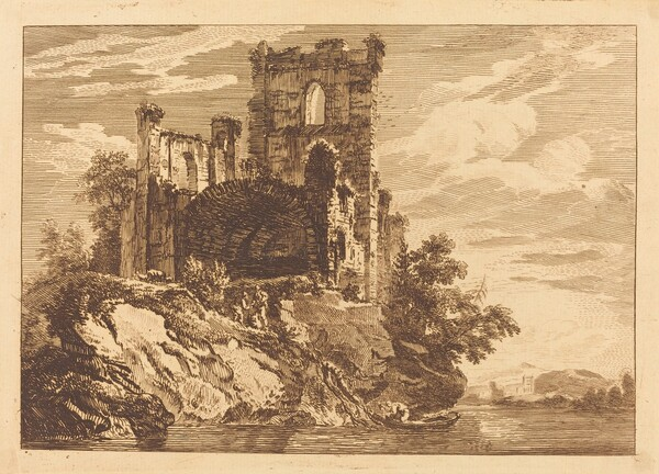 Ruins by a River with a Man in a Boat