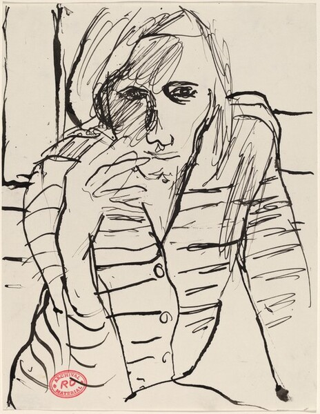 Untitled [woman in a striped shirt with cigarette]