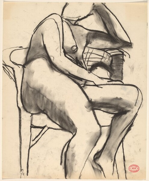 Untitled [seated female nude in a wicker chair]