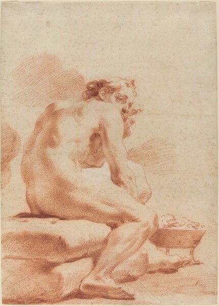 A Young Man Warming Himself at a Brazier