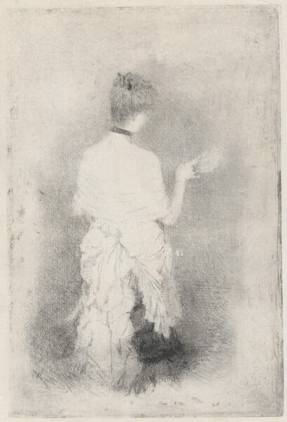 Elegant Young Woman Seen from Behind