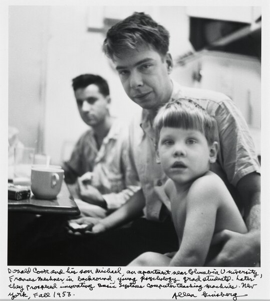 Donald Cook and his son Michael, an apartment near Columbia University, Francis Mechner in background, young psychology grad students. Later they proposed innovating Basic Systems Computer teaching machines. New York, Fall 1953.