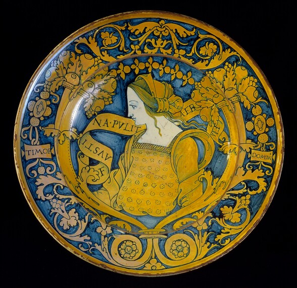 Large dish with border of floral scrollwork and cornucopias; in the center, profile bust of Faustina