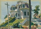 """From the bottom of a hill, we look up at a house with white siding and pine green shutters flanking several bay windows in this horizontal watercolor painting. Two powerlines rising from the street in front of us visually frame the house, and the right-hand pole reaches off the top edge of the composition. Spring green grass and trimmed box hedges climb presumably flank stairs leading up to the front door, which sits within a narrow, covered porch. There are two bay windows on the first floor, one on either side of the central porch. Three-sided bay windows on the second floor mirror those on the first, and the central window, over the front door, also sits within a narrower bay. The uppermost story is seen only as a pair of windows either set into a gable or dormer. The roof on the second level, around the bay windows, is slate gray and the shadows are painted deep plum. Curling ironwork lines the second-story bays in front of the dormer and a chimney rises to our right. The house is silhouetted against a pale blue sky with a tree to our right and white picket fencing descending along the line of the hill below. Next to the fence, it seems that the ground drops off to a sheer wall, perhaps to an adjacent street. Two smaller homes with pale butter-yellow siding peek over the hill in the distance, one on each side of the house. The artist signed and dated the painting with the location in blue paint in the lower right corner: """"Edward Hopper Gloucester 1924."""""""