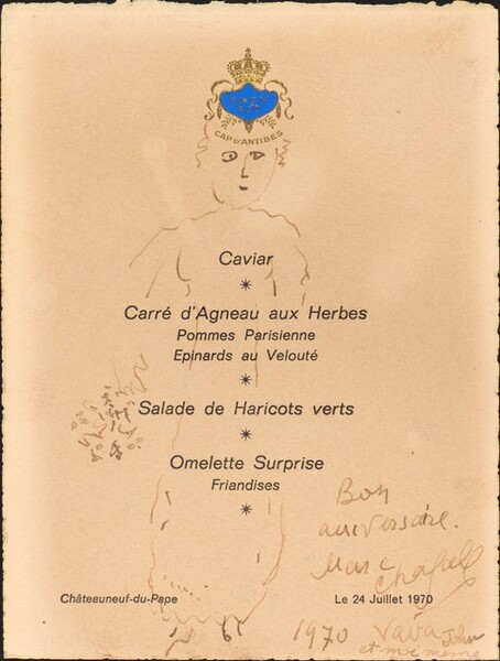 Menu with a Drawing of a Queen