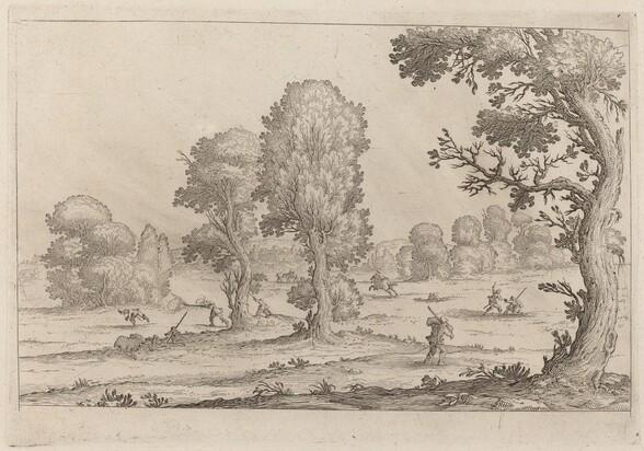 Men Fighting in a Landscape
