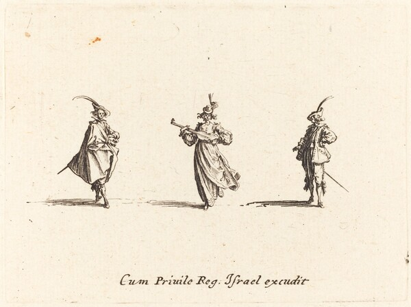 Lady with String Instrument, and Two Gentlemen