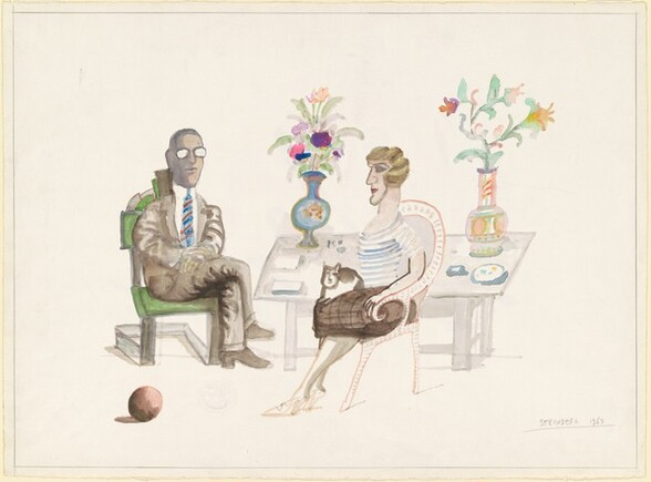 Untitled (Seated Man and Seated Woman with a Cat on Her Lap) [recto]