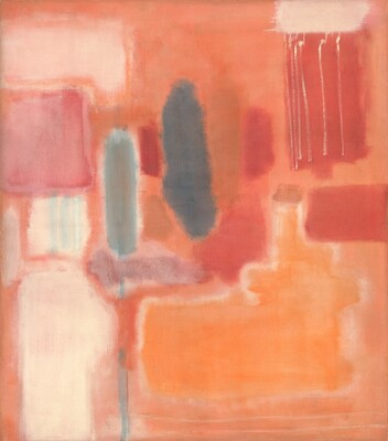 Geometric forms, mostly rectangles with blurred edges, in tones of ivory and muted oranges, reds, and blues fit loosely together in this vertical abstract painting. The paint seems thinly applied and blended with soft edges. Near the center, vertical, narrow rectangles are painted in slate and ocean blue with a streak of blue that runs down to the bottom edge of the canvas. Along the left edge of the canvas, several shapes are stacked, starting at the top with a pale shell pink horizontal rectangle above a rose-pink square, over an ivory-white square and vertical, ivory rectangle that continues off the bottom edge of the canvas. In the lower right quadrant, the largest form is a marigold-orange horizontal rectangle with a few smudges and blocks of ruby red above it. A taller, crimson-red rectangle in the upper right is streaked with six vertical, white lines that seem to drip down from a white rectangle above. The shapes are surrounded by a pale, apricot-orange field.