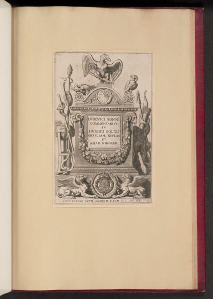 Title Page for Ludovicus Nonnius, Commentarius in Huberti Goltzi Graeciam, Insulas, et Asiam Minorem