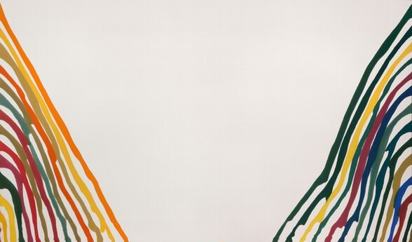 On either side of a rectangular, off-white canvas, thirteen wavy, almost parallel lines, each in a different color, drift and drip from either short end of the canvas down toward the bottom center. The lines vary in thickness and many are separated by narrow white spaces, but sometimes the lines bump or drip into their neighbors. Most of the colors to our left are warm, with buttercup yellow, papaya and fire orange, pea green, crimson red, and magenta. To our right, most of the colors are cool with pine and forest green, navy blue, burgundy red, and one lemon-yellow line. The largest portion of the composition, though, is the V-shaped white space left in between each bank of thirteen lines.