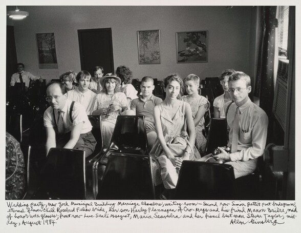 Wedding party, New York Municipal Building Marriage Chambers, waiting room-- second row Simon Pettet poet bridegroom, eternal flower child Rosebud Feliu bride, her son Harley Flanagan of Cro-Mags and his friend Manon Brière, maid of honor with glasses; front row Luc Sante essayist, Maria Saavedra and her fiancé best man Steven Taylor, mid-day, August 1984.