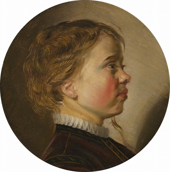 This round portrait painting shows the head, face, and the top of the shoulders of a young, blond boy with pale, peachy skin and flushed cheeks, facing our right in profile against a tan background. Light seems to come from behind us and to our left, so the boy's cheek, jawline, and ear are brightly lit as he looks straight ahead. He has long, dark eyelashes, a turned-up nose, and his full, coral-pink lips are closed. The cheek we see is deeply blushed along the curve, near the nose and mouth. His short, light brown hair is highlighted with gold strands where it catches the light. A long tendril falls down past his chin on the opposite side of his face. He wears a fitted jacket, perhaps of brown or plum-colored velvet, finely stitched along the seams in a lighter golden color. The narrow, white ruff encircling his neck above the jacket is pleated to create a pattern of figure-eights. The background is lighter to our right and deepens to a brownish olive green to our left. The portrait is somewhat loosely painted with visible brushstrokes.