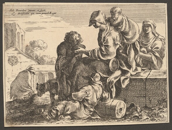 A Drinking Child with Resting Peasants