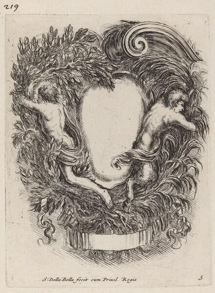 Cartouche with Apollo and Pan