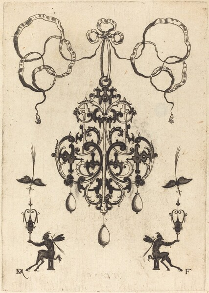 Large Pendant, Lower Left and Right Two Winged Devils Sitting on Pedestals