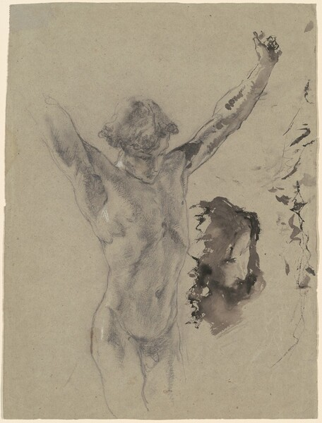 Study of the Figure and Head of Christ in Christ on the Cross and Mary Magdalene