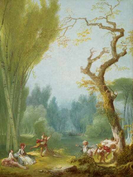 Close to us, and at the foot of a lush, tree-lined park, filtered light falls across a group of about a dozen light-skinned people lounging and frolicking along the cleared banks of a river in this vertical landscape painting. A man wearing a shell-pink jacket and pants and woman wearing a topaz-blue, full-skirted dress and rose-pink bonnet sit near each other in the lower left corner. Several younger people, probably boys given their dress, pile up in a game where one person tries to ride on the back of another, to our right. They wear rolled-up pants, open-necked shirts, and some wear straw-colored hats. Tall aspens, with smooth greenish-white trunks and soft, golden leaves, are among the trees that line this gently flowing river. A gnarled trunk twists against the cloudless blue sky above the revelers to our right. Other couples board a long, narrow boat, at the riverbank in the distance. As the river runs away from us, the tallest of the trees lining the banks almost touch at the top.