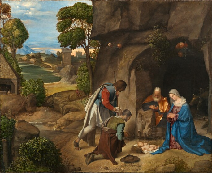 Four people with white skin are gathered to our right in a landscape, their heads bowed down towards an infant who lays on a white cloth on the ground in this horizontal painting. The nude baby has a rounded belly, chubby limbs, and short blond hair. To our right and near the edge of the panel, a woman kneels with her hands in prayer, looking towards the baby so she faces our left in profile. She wears a blue robe over a pink dress and a white cloth covers her head and shoulders. Behind her and to our left, a man with a white beard, wearing a golden yellow robe, sits or kneels next to a rock at the mouth of a cave cut into a rocky outcrop that extends off the top of the composition. To the left of the baby and at the center of the foreground, a pair of men wear tattered clothing and hold shepherd's staffs. The man closer to us kneels with his hands pressed together in prayer as the man behind him and two our left bends his knee as if to kneel. The landscape recedes deep into the distance on the left half of the painting with a winding river, houses and other buildings, grassy hills, and mountains beneath a blue sky. A small winged angel wearing white looks down on the scene from the upper left corner.