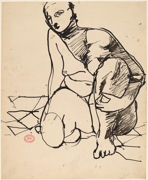 Untitled [crouching nude holding her left leg]