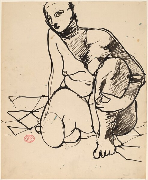 Untitled [crouching nude holding her left leg]