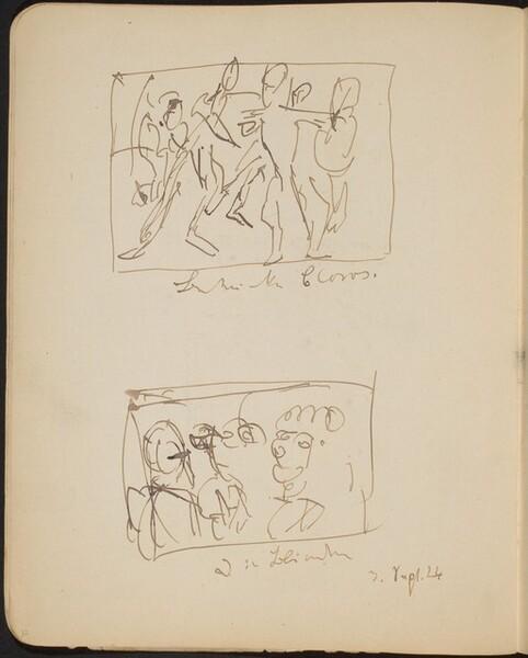 Zwei mehrfigurige bezeichnete Skizzen (Two Sketches with Inscriptions) [p. 32]