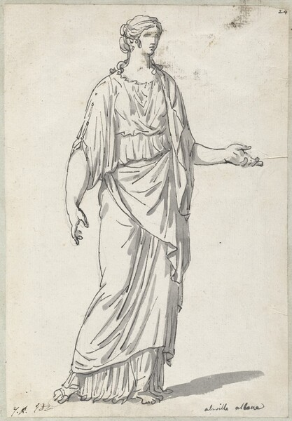 Classical Sculpture of a Woman with an Outstretched Arm