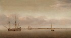 Painted in tones of beige, bone, and pecan brown with hints of shell pink and icy, pale blue, a few sailboats float in a calm body of water stretching across the painting with a harbor and a town deep in the distance along the horizon, which comes about a quarter of the way up this painting. Rippling gently across the foreground, the water reflects the pale blue sky and faint blush pink of clouds above. To our left, two masted ships with sails furled have pulled up alongside each other. A smaller boat sails to our right and a few more are spaced sparsely along the waterway leading to the town. Painted as a dense forest of spiky masts, the harbor in the far distance is full of boats along a town that stretches nearly the width of the panel. Tiny in scale, there are a few windmills and slate gray towers, as for churches, town halls, and other large buildings.